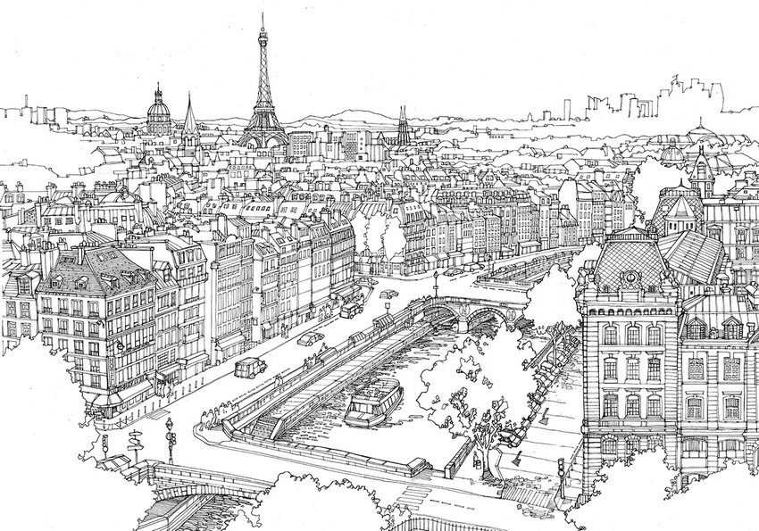 coloriage adulte paris à imprimer
