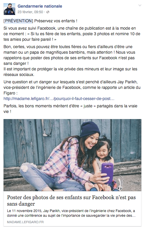 photo bébé facebook gendarmerie